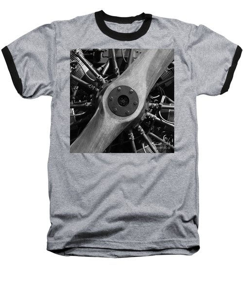Vintage Wood Propeller - 7d15828 - Square - Black And White Baseball T-Shirt