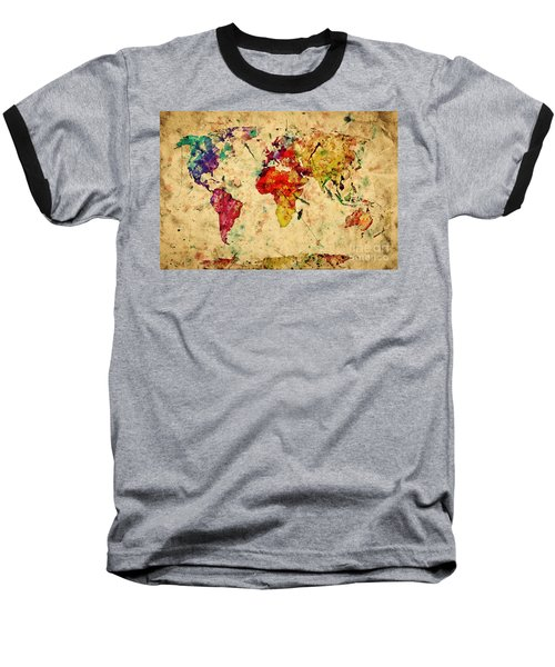 Vintage World Map Baseball T-Shirt