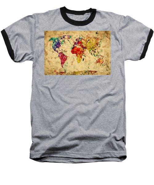 Vintage World Map Baseball T-Shirt