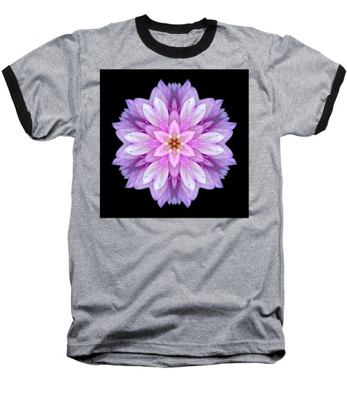 Violet Dahlia I Flower Mandala Baseball T-Shirt by David J Bookbinder