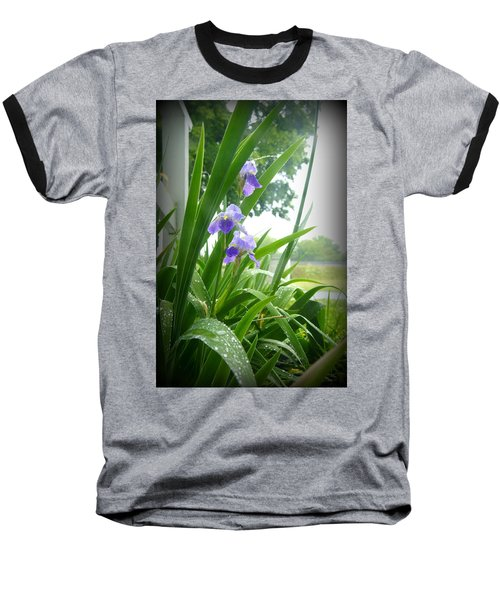 Baseball T-Shirt featuring the photograph Iris With Dew by Laurie Perry