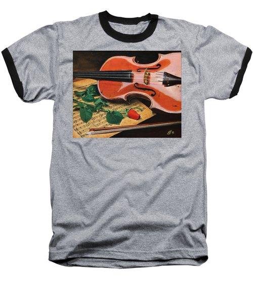 Violin And Rose Baseball T-Shirt