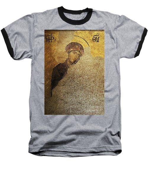 Virgin Mary-detail Of Deesis Mosaic  Hagia Sophia-day Of Judgement Baseball T-Shirt