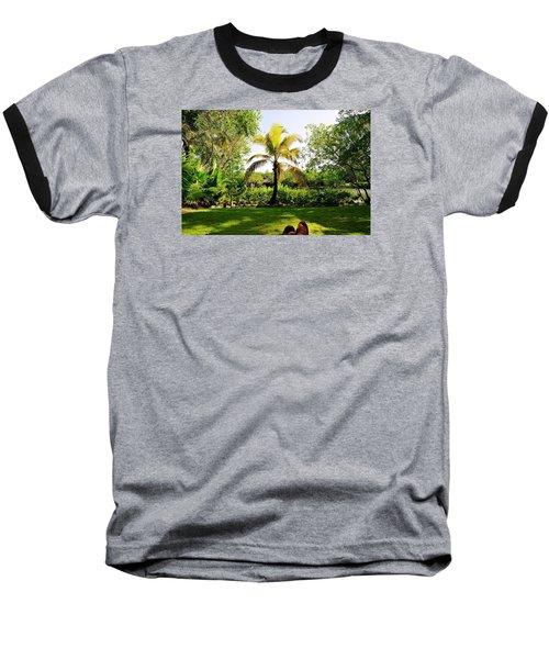 Visiting A Mayan Trail Baseball T-Shirt by Kicking Bear  Productions