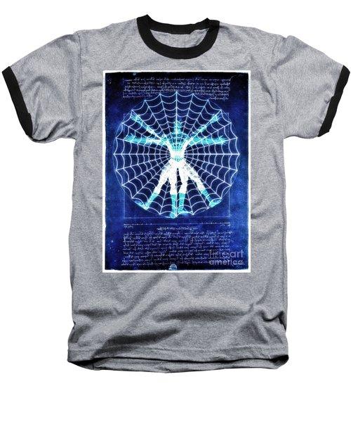 Vitruvian Spiderman White In The Sky Baseball T-Shirt