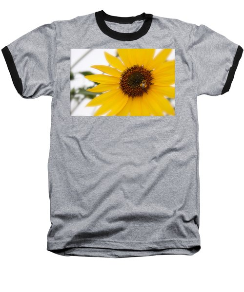 Baseball T-Shirt featuring the photograph Vivid Sunflower With Bee Fine Art Nature Photography  by Jerry Cowart