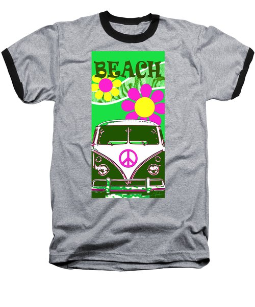 Vw Beach  Green Baseball T-Shirt