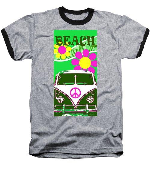 Vw Beach  Green Baseball T-Shirt