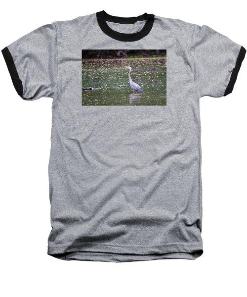 Baseball T-Shirt featuring the photograph Wading Crane by Susan  McMenamin