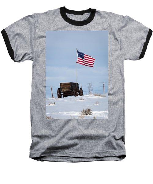 Wagon And Flag Baseball T-Shirt