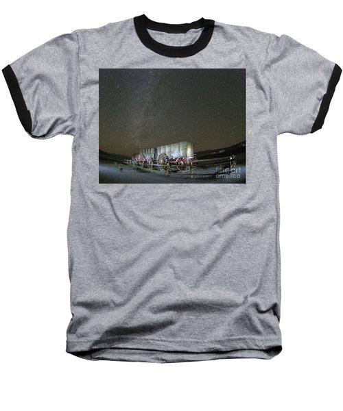 Wagon Train Under Night Sky Baseball T-Shirt