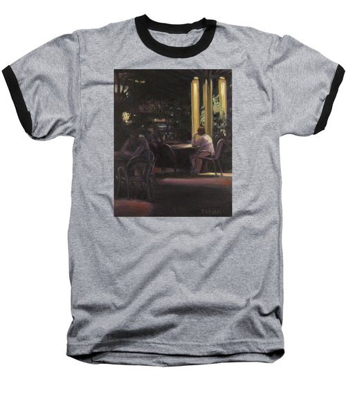 Waiting At The Night Cafe Baseball T-Shirt by Connie Schaertl
