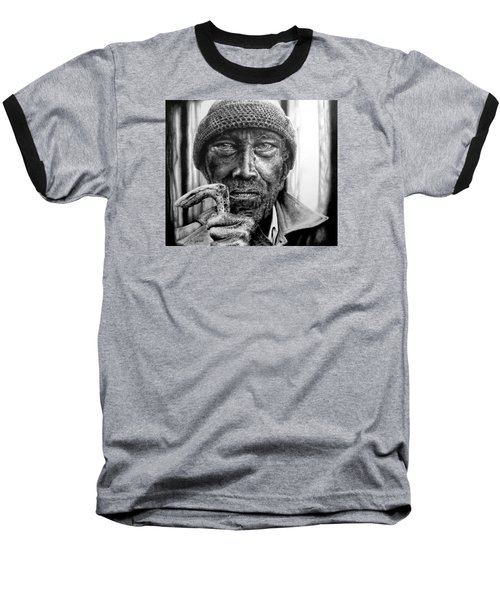 Baseball T-Shirt featuring the drawing Man With Cane by Geni Gorani