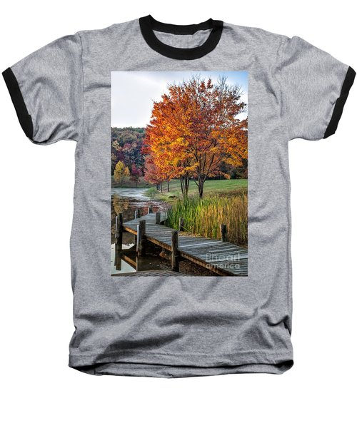 Walk Into Fall Baseball T-Shirt by Ronald Lutz