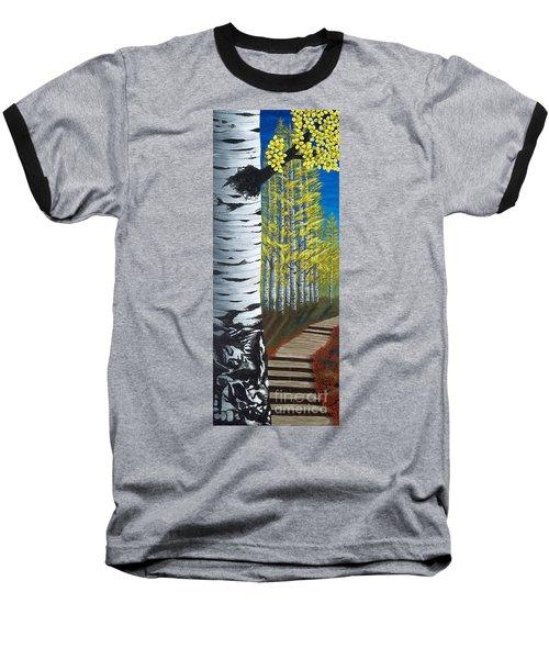 Walk Through Aspens Triptych 1 Baseball T-Shirt
