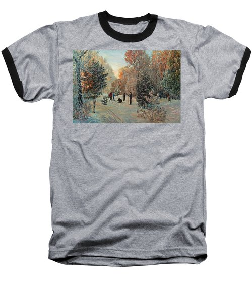Walk To Skiing In The Winter Park Baseball T-Shirt