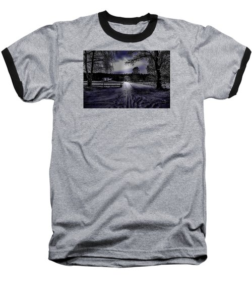 Baseball T-Shirt featuring the photograph #walk-way In A Pinhole Presentation Over Dyarna A #winter #day Near City Enkoping Sweden January 201 by Leif Sohlman