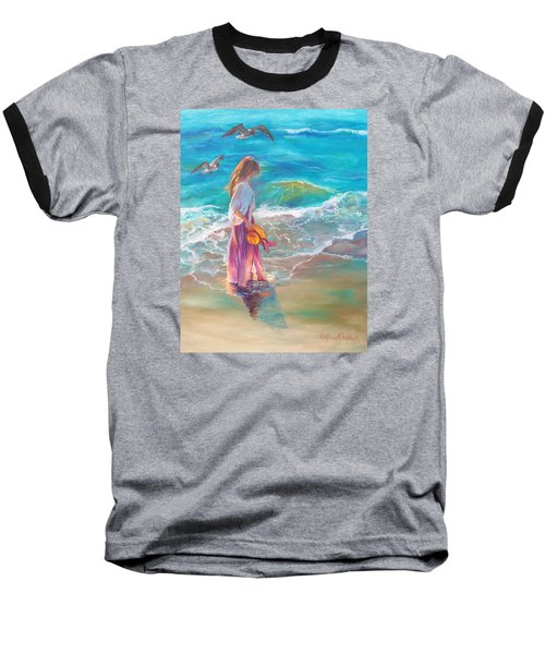 Baseball T-Shirt featuring the painting Walking In The Waves by Karen Kennedy Chatham