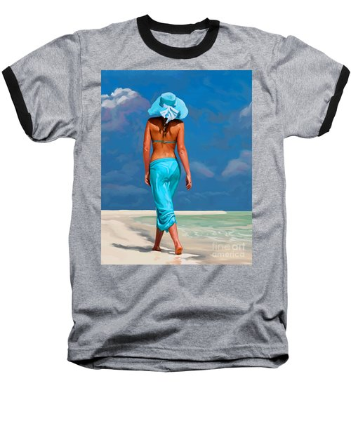 walking on the beach V Baseball T-Shirt by Tim Gilliland