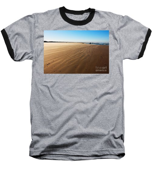 Walking On Windy Beach. Baseball T-Shirt