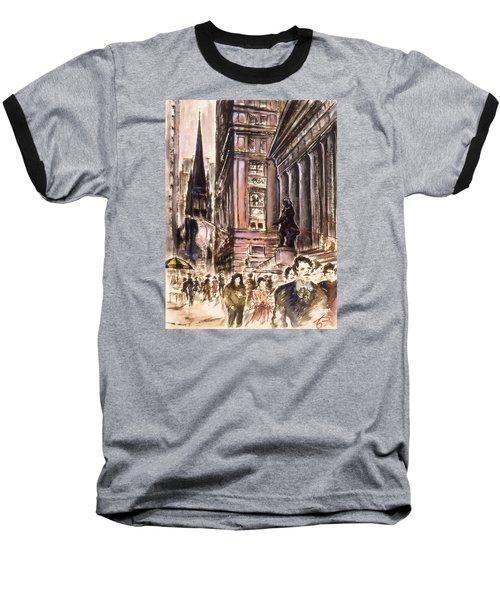New York Wall Street - Fine Art Painting Baseball T-Shirt