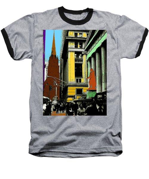 New York Pop Art 99 - Color Illustration Baseball T-Shirt