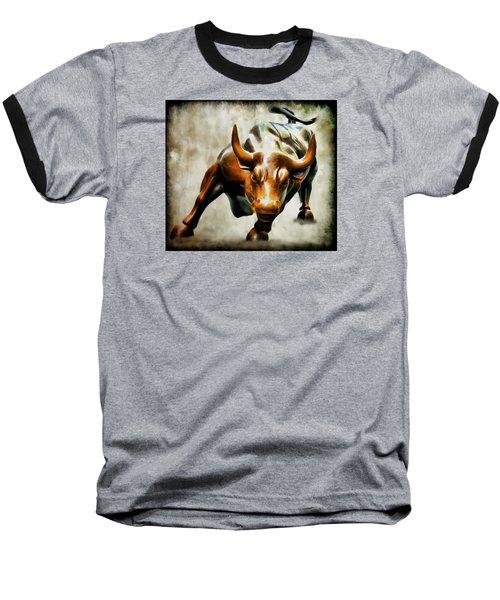 Wall Street Bull Baseball T-Shirt by Athena Mckinzie