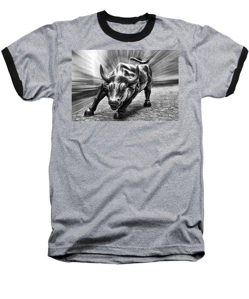 Wall Street Bull Black And White Baseball T-Shirt