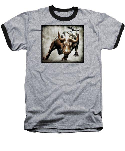 Wall Street Bull II Baseball T-Shirt by Athena Mckinzie