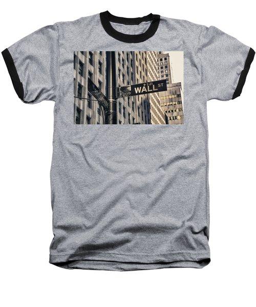 Wall Street Sign Baseball T-Shirt