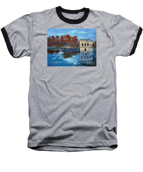 Waltham Reservoir Baseball T-Shirt by Rita Brown