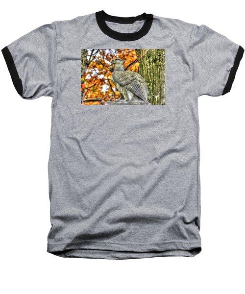 Baseball T-Shirt featuring the photograph War Eagles - 28th Massachusetts Volunteer Infantry Rose Woods The Wheatfield Fall-a Gettysburg by Michael Mazaika