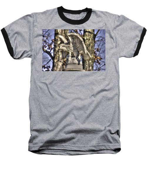 Baseball T-Shirt featuring the photograph War Eagles - Vermont Company F 1st U. S. Sharpshooters-a1 Pitzer Woods Gettysburg by Michael Mazaika