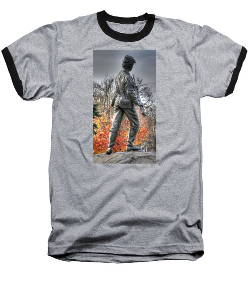 Baseball T-Shirt featuring the photograph War Fighters - 26th Pennsylvania Emergency Militia Infantry-b1 Defending The Town Of Gettysburg by Michael Mazaika