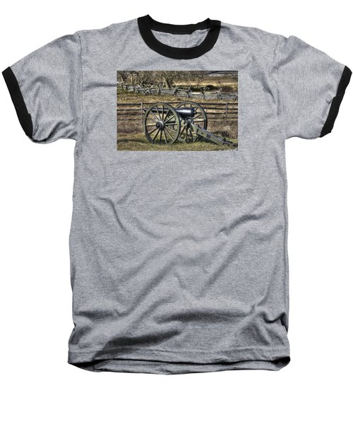 Baseball T-Shirt featuring the photograph War Thunder - 9th Michigan Btry 1st Michigan Light Artillery Battery I Hancock Ave Gettysburg by Michael Mazaika