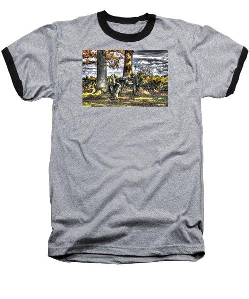 Baseball T-Shirt featuring the photograph War Thunder - Lane's Battalion Ross's Battery-b1 West Confederate Ave Gettysburg by Michael Mazaika