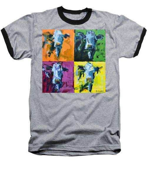 Warhol Cows Baseball T-Shirt by Robert Joyner