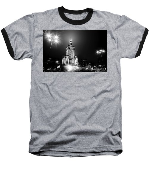 Warsaw Poland Downtown Skyline At Night Baseball T-Shirt