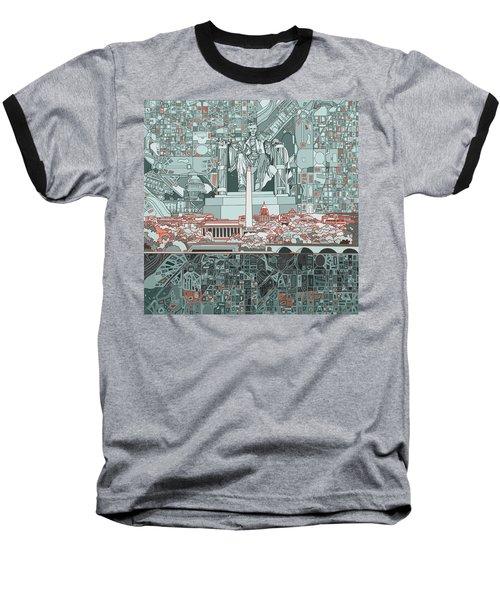 Washington Dc Skyline Abstract Baseball T-Shirt
