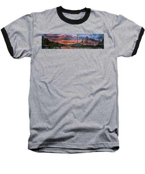 Watauga Lake Sunset Baseball T-Shirt by Tom Culver