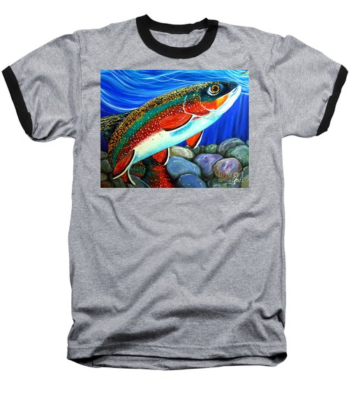 Brook Trout  Baseball T-Shirt by Jackie Carpenter