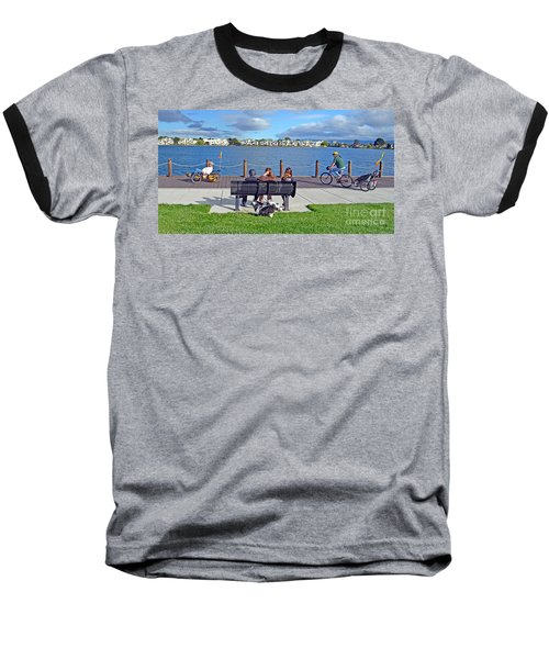 Watching The Bikes Go By At Congressman Leo Ryan's Memorial Park Baseball T-Shirt by Jim Fitzpatrick