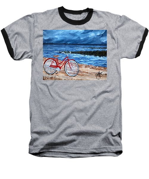 Baseball T-Shirt featuring the painting Watching The Storm by Jackie Carpenter