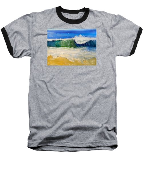 Watching The Wave As Come On The Beach Baseball T-Shirt by Pamela  Meredith