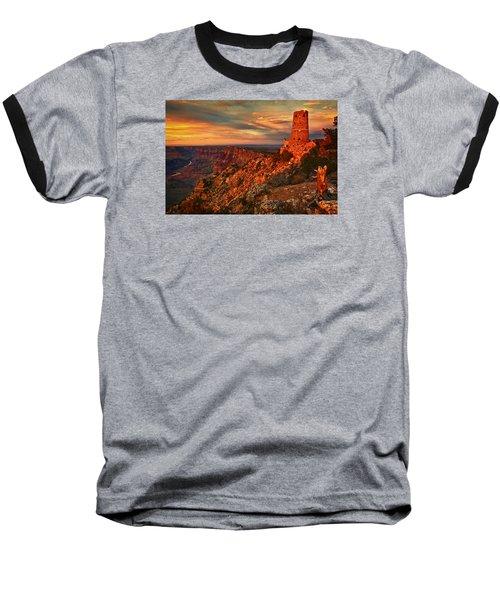 Baseball T-Shirt featuring the photograph Watchtower Sunset by Priscilla Burgers