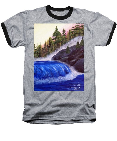 Baseball T-Shirt featuring the painting Water Fall By Rocks by Brenda Brown