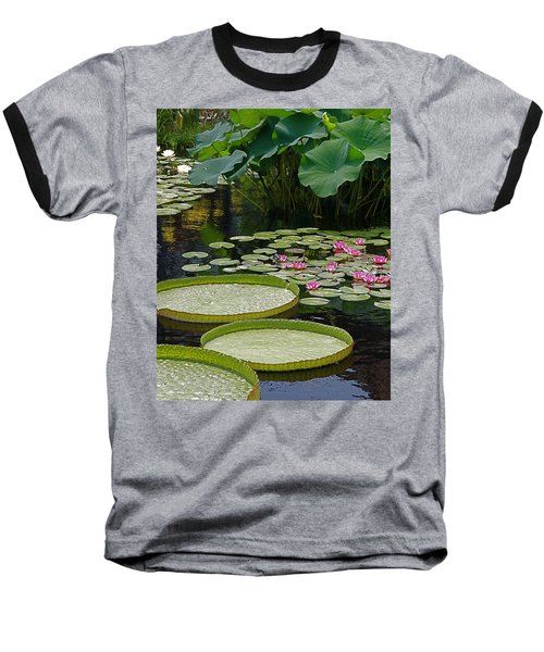 Baseball T-Shirt featuring the photograph Water Lilies And Platters And Lotus Leaves by Byron Varvarigos
