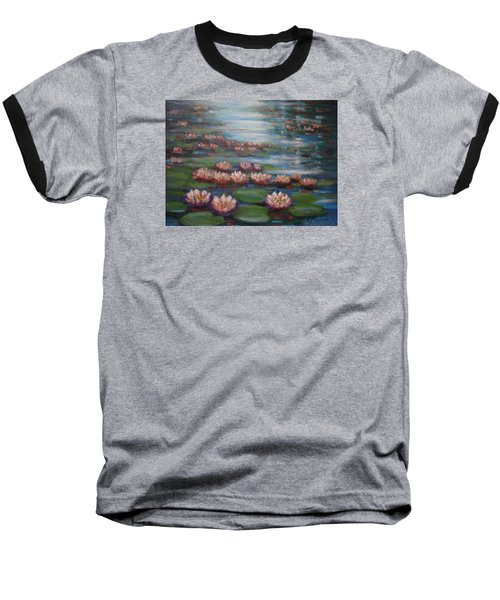 Baseball T-Shirt featuring the painting Water Lilies In Monet Garden by Laila Awad Jamaleldin