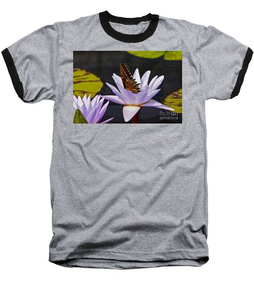 Water Lily And Swallowtail Butterfly Baseball T-Shirt