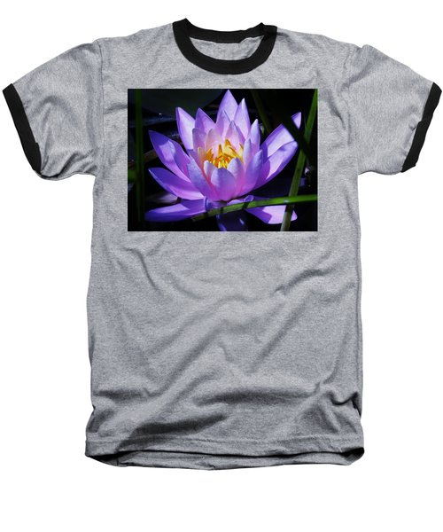 Water Lily Blues Baseball T-Shirt by Sherman Perry